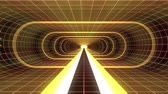 tunel : In out flight through VR YELLOW neon RED grid GREEN lights cyber tunnel HUD interface motion graphics animation background new quality retro futuristic vintage style cool nice beautiful video foota Dostupné videozáznamy