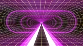 telecomunicações : In out flight through VR PURPLE neon YELLOW grid BLUE lights cyber tunnel HUD interface motion graphics animation background new quality retro futuristic vintage style cool nice beautiful video foota Vídeos
