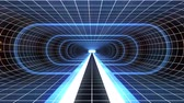 оптический : In out flight through VR BLUE neon WHITE grid RED lights cyber tunnel HUD interface motion graphics animation background new quality retro futuristic vintage style cool nice beautiful video foota Стоковые видеозаписи
