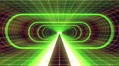 spirála : In out flight through VR GREEN neon RED grid YELLOW lights cyber tunnel HUD interface motion graphics animation background new quality retro futuristic vintage style cool nice beautiful video footage