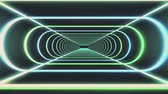 flexionar : In out flight through neon rib lights abstract cyber tunnel motion graphics animation background new quality retro futuristic vintage style cool nice beautiful video footage