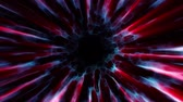 оптический : Flight in out through BLUE RED neon hyperspace lights digital tunnel motion graphics animation background loop new quality futuristic style cool nice beautiful video footage