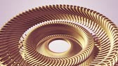 buluş : moving rotating golden golden metal gears chain elements seamless loop animation 3d motion graphics background new quality industrial techno construction futuristic cool nice joyful video footage Stok Video