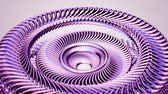 buluş : Fluid moving rotating purple metal chain eye circles seamless loop animation 3d motion graphics background new quality industrial techno construction futuristic cool nice joyful video footage Stok Video