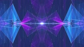 financial graph : abstract symmetrical BLUE PURPLE polygon star shape net shiny cloud animation background new quality dynamic technology motion colorful video footage Stock Footage