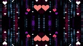 vivid wall : ornamental heart shaped lights symmetrical kaleidoscopic ethnic tribal psychedelic pattern animation background New quality retro vintage holiday native universal motion dynamic cool nice joyful video