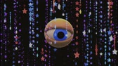 watch icon : retro VHS TV eye in star rain looking around background animation New quality universal vintage dynamic animated colorful joyful nice cool video footage Stock Footage