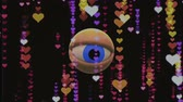 espião : retro TV eye in HEART rain looking around background animation New quality universal vintage dynamic animated colorful joyful nice cool video footage Vídeos