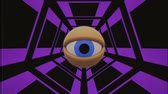 watch icon : retro TV eye in tunnel looking around seamless loop background intro animation New quality universal vintage dynamic animated colorful joyful nice cool video footage Stock Footage
