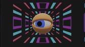 intenso : retro TV eye in tunnel looking around seamless loop background intro animation New quality universal vintage dynamic animated colorful joyful nice cool video footage Vídeos