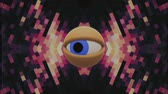 искажение : retro TV eye in pixel energy system looking around background intro animation New quality universal vintage dynamic animated colorful joyful nice cool video footage