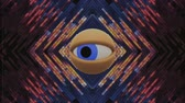 freemason : retro TV eye in pixel energy system looking around background intro animation New quality universal vintage dynamic animated colorful joyful nice cool video footage