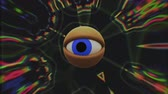 watch icon : retro TV eye in rainbow kaleidoscope looking around background animation New quality universal vintage dynamic animated colorful joyful nice cool video footage