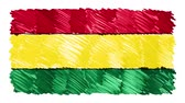 geográfico : stop motion marker drawn Bolivia flag cartoon animation background new quality national patriotic colorful symbol video footage