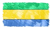 desenhada à mão : stop motion marker drawn Gabon flag cartoon animation background new quality national patriotic colorful symbol video footage