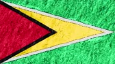 geográfico : stop motion pastel chalk crayon drawn Guyana flag cartoon animation seamless loop background new quality national patriotic colorful symbol video footage