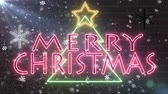 фантастический : neon Merry christmas tree neon sign congratulation banner with star and snowflakes falling blink on brick wall background animation New quality technology dynamic colorful holiday stock video