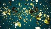 prata : yellow golden liquid metal water drops random diffused in space digital animation background new quality natural motion graphics cool nice beautiful 4k stock video footage Stock Footage