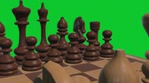 peones : chess board 3d close up camera animation on green screen new quality board game cool nice joyful video 4k stock footage Archivo de Video