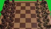 peão : chess board 3d close up camera animation on green screen new quality board game cool nice joyful video 4k stock footage Vídeos