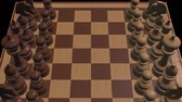 walka : chess board 3d close up camera animation new quality board game cool nice joyful video 4k stock footage Wideo
