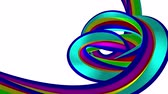gelatina : Soft colors 3D curved rainbow rubber band marshmallow rope candy seamless loop abstract shape animation background new quality universal motion dynamic animated colorful joyful video 4k stock footage