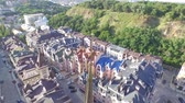 district : Flying over a new residential complex in the center of Kiev in the historical part of the city.