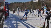 categoria : the start of the race in biathlon Stock Footage