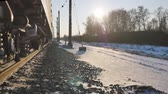 waggon : the movement of trains on the railway on the TRANS-Siberian in winter