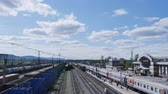 commute : VIHOREVKARUSSIA - railway station, arrival of a passenger train, timelapse Stock Footage