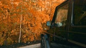 marcado : the car in the Parking lot of the forest in autumn.