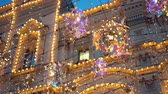 hanglamp : Street decorated with Christmas decorations multi-colored illumination, garlands