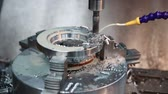 coolant : Drilling machine makes a hole in the metal product. Stock Footage