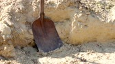 события : Steel shovel be used for scoop sand to construct the building background, front view. Digging soil, Shovel putted into heap of ground. Стоковые видеозаписи