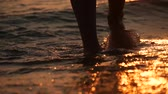 шаг : Female feet of hiker tourist walking barefoot on shore. Legs of young woman going along ocean beach. Girl stepping on wet sand of shoreline. Slow motion. Close up.
