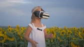 sanal : Little girl in virtual reality goggles in the sunflower field on sunset. Child looking at virtual reality glasses at sun. Stok Video