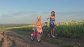 jazda na rowerze : Family on bicycles in nature. Mom and daughter on bicycles on a field of sunflowers. Mother and daughter in hats are walking through sunflowers field. The concept of the family.