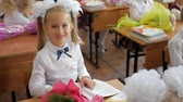 uczeń : Little girl sitting and studying at school class. Portrait of lovely girl looking at camera at lesson. Wideo