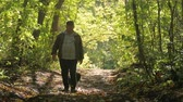 11월 : Old man walking in the woods with his dog, a sunny spring day. Beautiful rays of the sun.