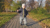 oktober : Happy little child, baby boy laughing and playing in the autumn in the park walk outdoors. Stock Footage
