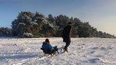 Little boy enjoying a sleigh ride. Mother sled his cute child. Family winter activities outdoors. Happy family having fun outdoor. Stock Footage