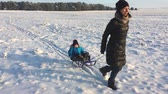 Little boy enjoying a sleigh ride. Mother sled his cute child. Family winter activities outdoors. Happy family having fun outdoor. Archivo de Video