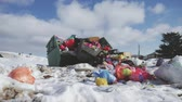 papierkorb : Garbage is pile lots dump, many garbage plastic bags black waste at walkway community village, bags bin of plastic waste, garbage waste lots junk dump. Stock Footage