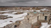 циклон : Old brick destroyed building in winter. Aerial view, the building without a roof of brick.