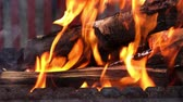 ash : Video of open fire in iron barbecue stove Stock Footage