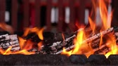 karakalem : Open fire in iron barbecue stove