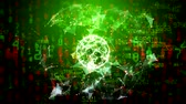 gamma : Abstract global network with moving numbers, lines and dots - green gamma Stock Footage