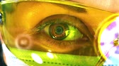 stetoskop : Female doctors eye closeup on a white background. Futuristic and technological vision of medical care. Concept: futuristic medicine, technology Eye, medical holography, future 4k footage Wideo