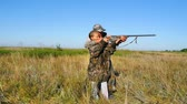 manmetro : Hunter with a girl hunting Stock Footage