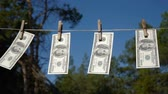 çamaşırhane : Dollars drying on the rope. The financial concept dollar. The concept of money laundering.